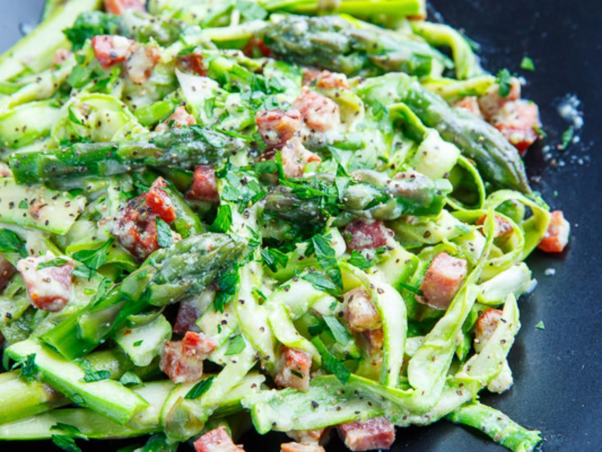 Asparagus Noodle Carbonara Healthy Recipe