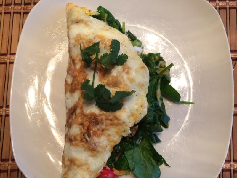 Spinach, Swiss, and Egg White Omelet