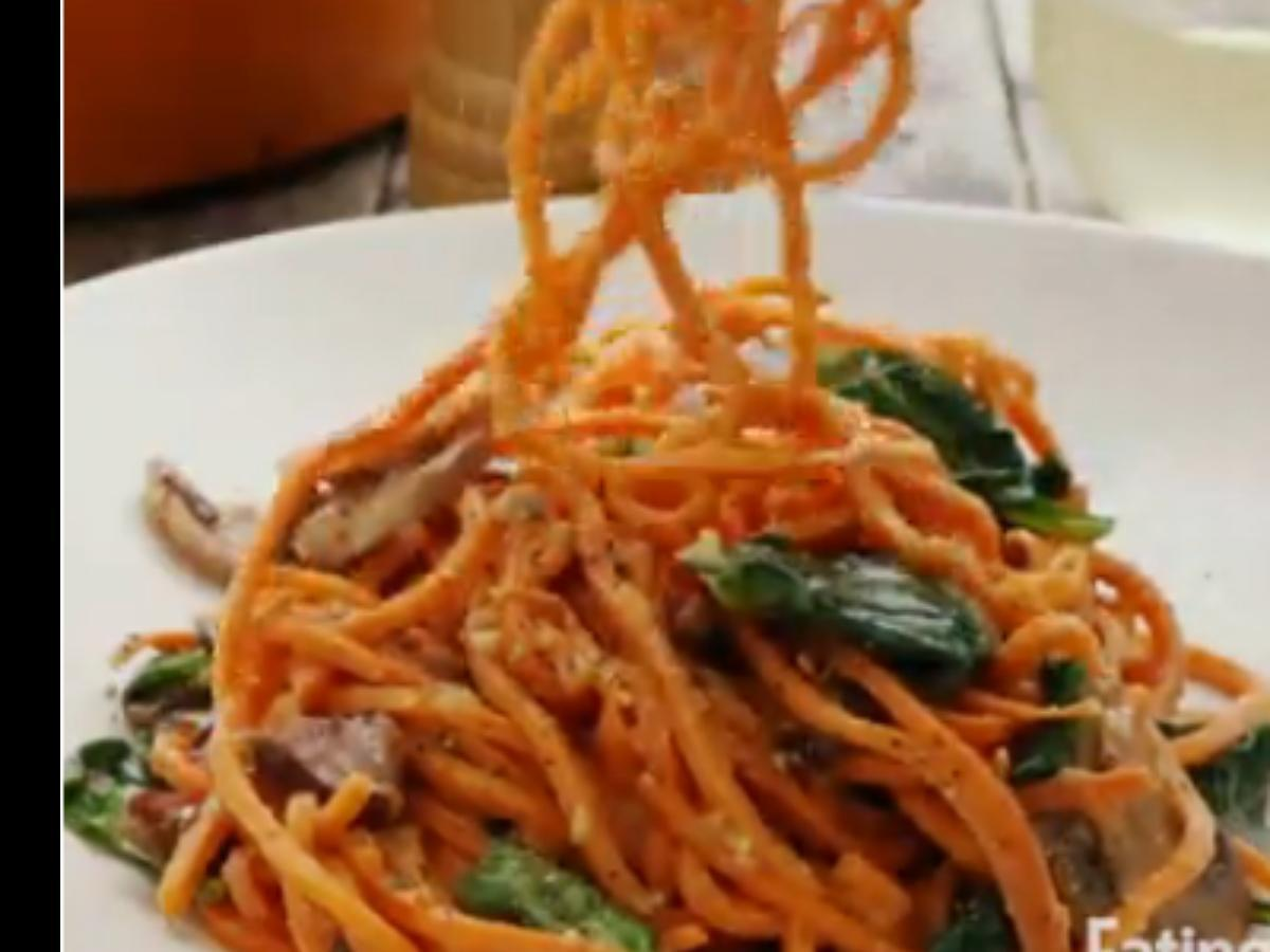 Sweet Potato Carbonara with Spinach & Mushrooms